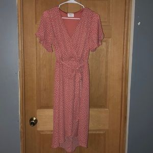 NWOT Blush Pink Wrap Dress L